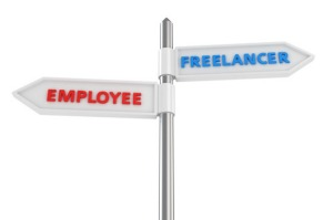 "Road sign ""Employee-Freelancer"" on the white background"